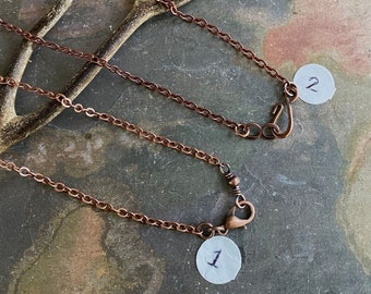 SOLDERED/CLOSED Antiqued Copper Chain, Antiqued copper plated Curved Chain, Choose the Length and Style, Chain for the Pendant Necklace.