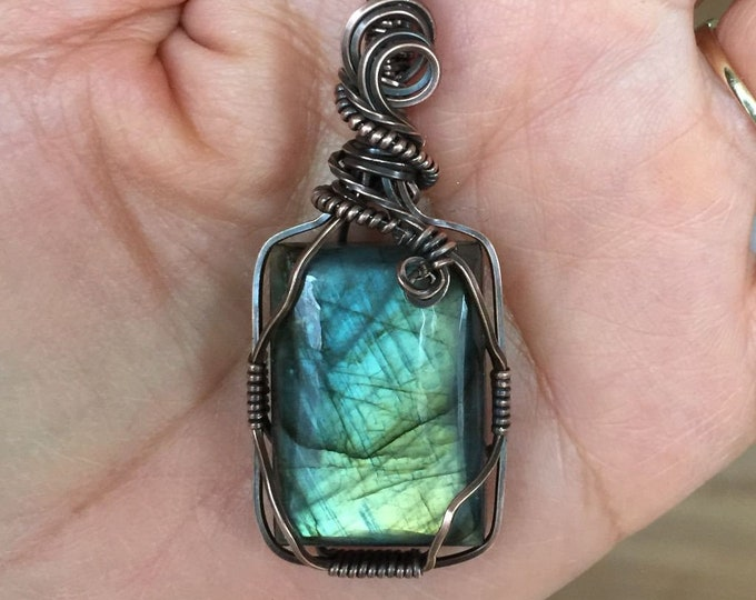 Labradorite Necklace,Blue Labradorite Tree of Life Pendant Necklace,Wire Wrapped Labradorite Tree of Life in Antiqued Copper,Labradorite