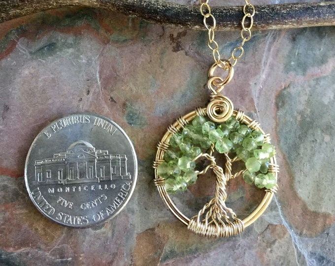 Gold Filled Tree of Life Necklace, Mini Peridot Tree of life Necklace, Petite August Birthstone Tree of life,Green tree Life, Green Necklace