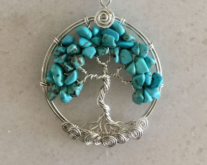 Turquoise Tree of Life Necklace Sterling Silver,Wire Wrapped Turquoise Tree of Life Necklace, December Birthstone Tree of Life Necklace