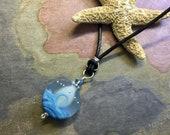 Ocean Wave Necklace in Leather,Ocean blue Beach Necklace,Blue Ocean Wave Necklace,Ocean Wave Lampwork Glass Necklace, Ocean Wave Necklace,