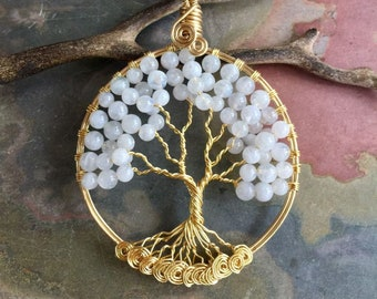 Moonstone Necklace,Moonstone Tree of Life Necklace in Gold,LARGE Tree of Life Necklace,JUNE  Birthstone Tree of Life Necklace,Family Tree