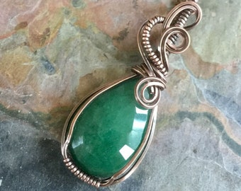 Wire Wrapped Emerald Necklace in Antiqued Copper,Genuine Emerald Pendant Necklace, May Birthstone Necklace,Green Emerald Necklace