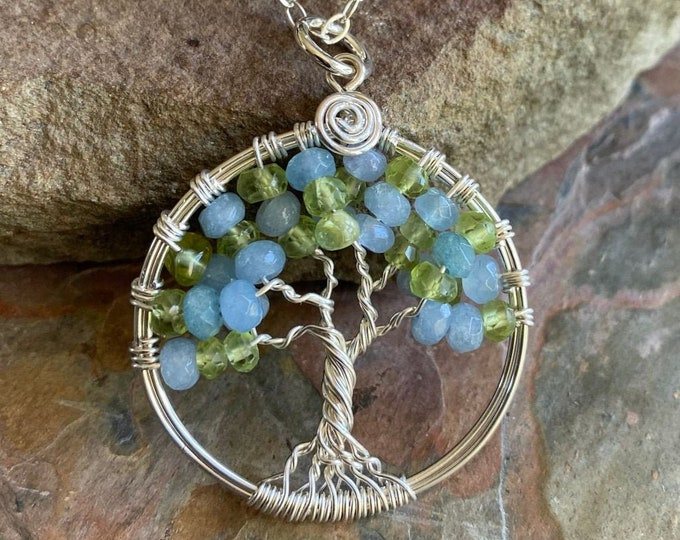 Peridot Moonstone Tree of Life Necklace Sterling Silver,March Birthstone Necklace,August Birthstone Necklace, Aquamarine Peridot Necklace