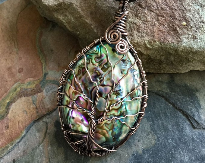Wire Wrapped Abalone Pendant Necklace Antiqued Copper, Abalone Shell Necklace, Whole Abalone Shell Tree of Life Copper Necklace, Paua Shell