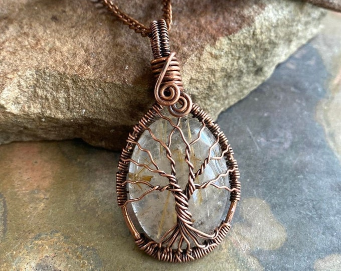 Natural Golden Rutile Quartz Oval Cabochon Necklace in Antiqued copper, Wire Wrapped Natural Rutilated Quartz Tree of Life Necklace