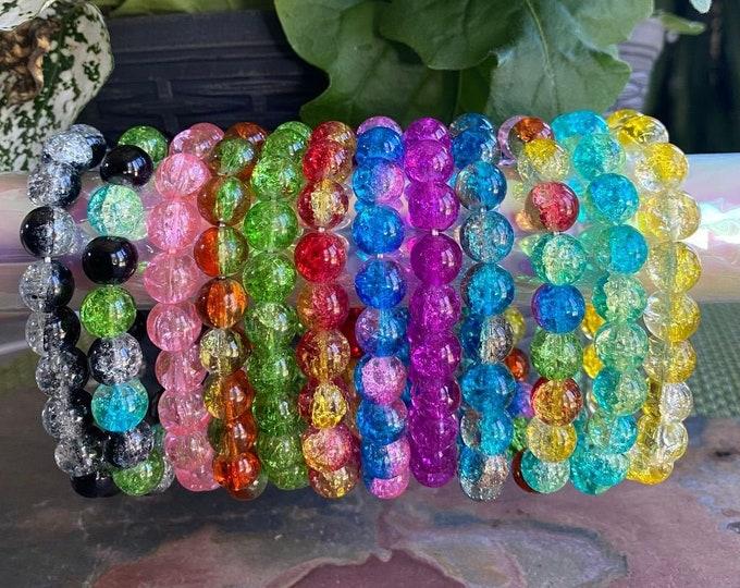 Crackle Glass Bracelet, 10 mm Crackle Glass Beaded stretch Bracelet,Colorful Crackle Glass Bracelet,Glass Bracelet, Rainbow Color Bracelet,