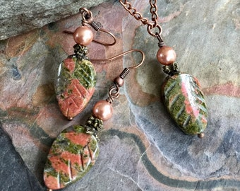 Unakite Necklace and Earring SET in Copper, Unakite Leaf Necklace, Fall /Autumn Gemstone Beaded Necklace, Earthy Unakite Stone Jewelry