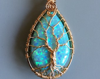 Aqua Blue Opal Pendant Necklace,Simulated Aqua Blue Opal Tree of Life Necklace Gold filled,October Birthstone Necklace, October Jewelry