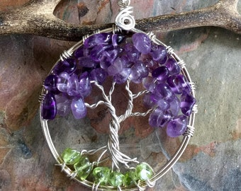 Amethyst Necklace,Amethyst Tree of Life Necklace Pendant Sterling Silver Chain-Wired Tree of life-February Birthstone, Mothers Day Gifts