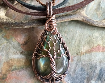 Labrdorite Tree of Life Necklace,Green Labradorite  Necklace,Wire Wrapped Labradorite Tree of Life in Antiqued Copper,Labradorite