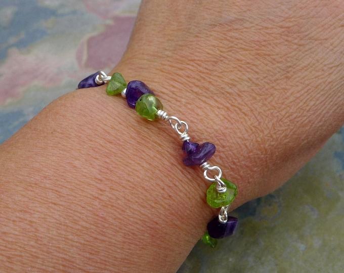 Amethyst,Peridot Bracelet, Bracelet,Wire Wrapped Amethyst Antiqued Silver Bracelet, Peridot bracelet,February/August Birthstone Bracelet,