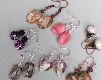 Smoky Quartz Earrings, Jasper Dangling Earrings,Opalite Earrings,Copper Earrings, Fire Agate Earrings,Lampwork Glass Earrings,Turquoise