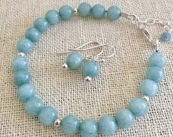 Aquamarine Bracelet,March Birthstone Bracelet Sterling Silver,Aquamarine Yoga Healing Adjustable Stretch Bracelet, Aquamarine Earrings