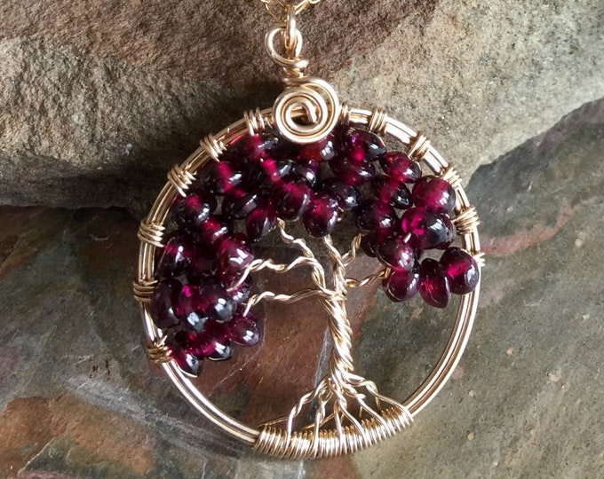 Garnet Necklace,Garnet Pendant Necklace in Gold Filled,Garnet Tree of Life Necklace with Gold Filled Chain, January Birthstone Necklace