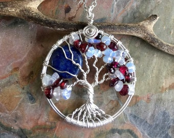 Family,Custom/Personalized Moon Tree of Life Pendant with Garnet,Opalite, Lapis Full moon tree of life Necklace,January Garnet moon Necklace