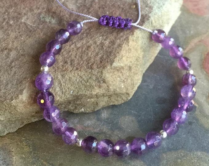 Sterling Silver Amethyst Bracelet,February Birthstone Bracelet,Purple Amethyst Macrame bracelet,Amethyst Yoga Adjustable Macrame Bracelet,