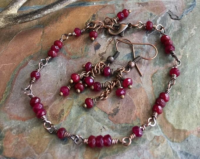 Garnet Bracelet,Garnet Earrings in Antiqued Copper,Wire Wrapped Garnet Bracelet & Earrings,January Birthstone Bracelet,Linked Garnet Jewelry