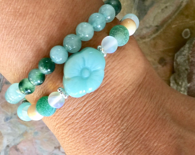 Amazonite/Jade Bracelet, Mint Green/Blue ,Jade Jadeite Stretch bracelet, Jade gemstone Adjustable bracelet,,Healing gemstone