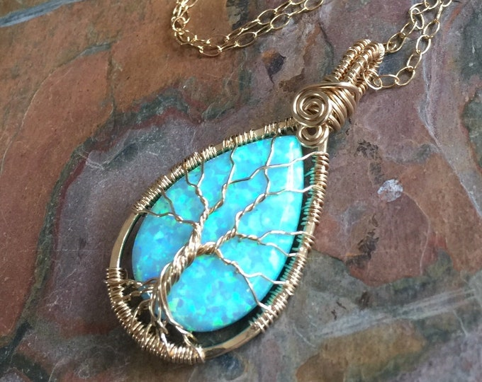 Opal Necklace,Aqua Blue Opal Necklace in GOLd FILLED Wire,Wire Wrapped Synthetic Aqua Blue Tree of Life Necklace,October Birthstone Necklace