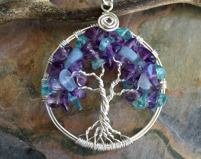 Tree of Life Pendant Necklace with Sterling Silver Chain - Amethyst/Aquamarine Tree of Life Pendant- February, March Birthstone Tree of Life
