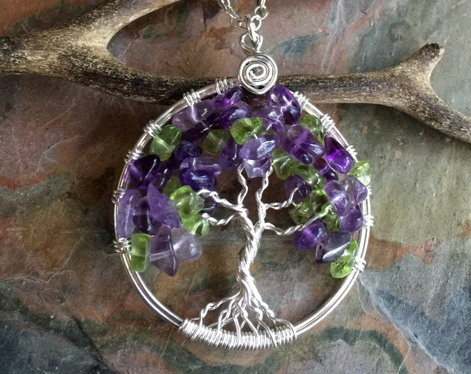 Amethyst Tree of Life Necklace in Sterling Silver,Amethyst/Peridot Necklace,  February Birthstone Birthstone Necklace, Amethyst Necklce