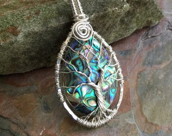 Abalone Tree of Life Necklace sterling silver,PETITE/SMALL Wire Wrapped Abalone Tree of Life Pendant,Abalone Tree of Life,Graduation Gift