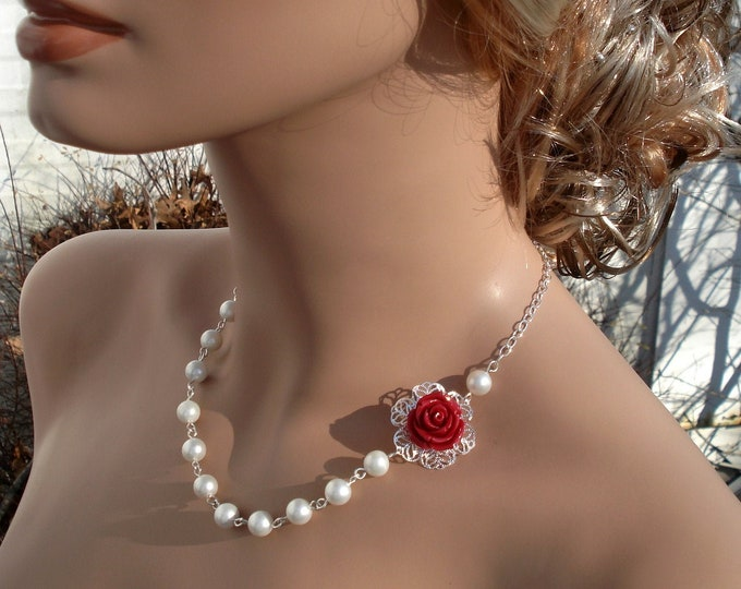 Bridesmaid Red Flower Pearl Necklace,Rose Pearl Earrings,Botanical Flower Gray Necklace,Bridesmaid gray Pearl Necklace/Earrings,