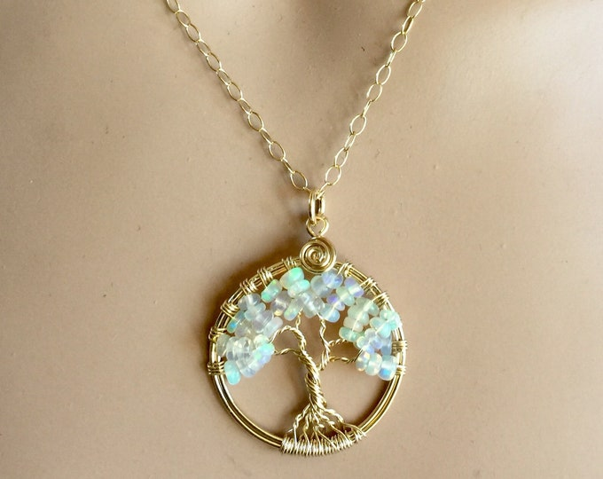 Opal Tree of Life Necklace, Genuine Gold Filled Welo Opal Necklace, Ethiopian Opal Tree of Life Pendant, Opal Jewelry, Wire Wrapped Opal