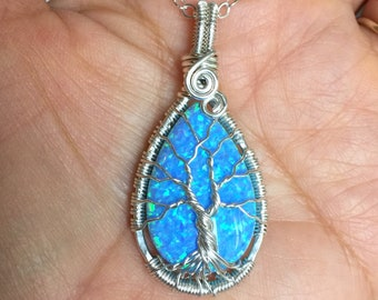 Blue Opal Necklace sterling silver,Wire Wrapped Synthetic Blue Opal Tree of Life Necklace,October Birthstone,Opal Jewelry,Blue Opal Earrings