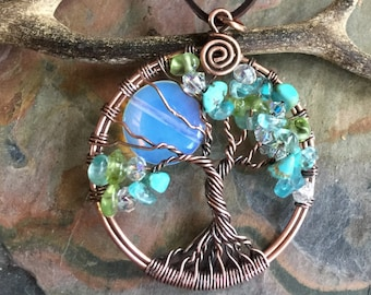 Custom Blue Opalite Full Moon Tree of Life Necklace in Antiqued copper,Wire Wrapped Full Moon Tree of Life, Family Tree of Life Necklace