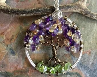 Tree of Life  Necklace,Custom Tree of Life-Amethyst/Citrine/Peridot Gemstone Tree of Life Pendant,February/November/August Birthstones