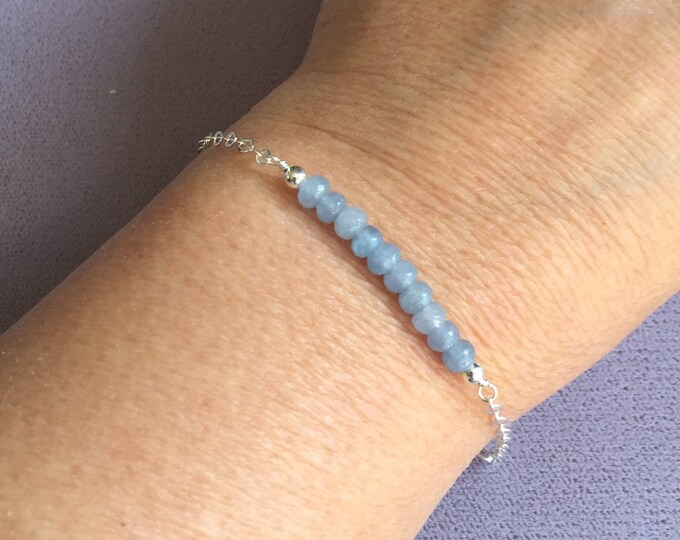 Aquamarine Bar Bracelet Sterling Silver, March Birthstone Bracelet,Dainty Bracelet,March Birthday Gift,Mother's Day Gift,Birthstone Bracelet