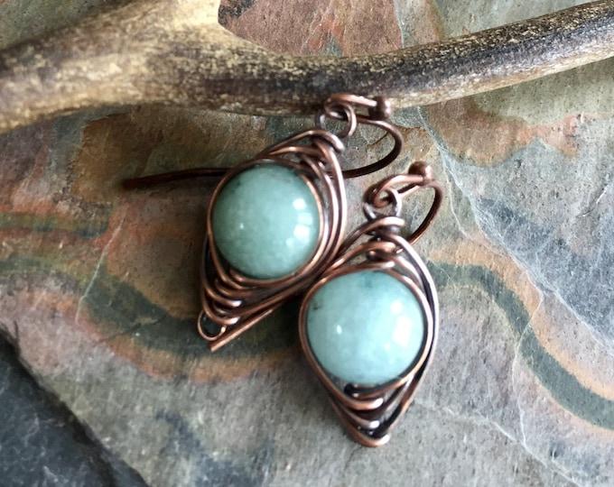 Aquamarine Earrings Sterling Silver,Wire Wrapped Herringbone Aquamarine Earrings,Aquamarine Dangle Earrings,March Birthstone earrings Gold