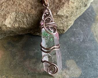 Blue Aura Quartz Crystal Necklace,Wire Wrapped Aura Quartz Necklace in Copper, Blue Aura Quartz Crystal Point Healing Necklace,quartz Point
