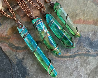 Wire Wrapped Blue Green Aura Quartz Crystal Necklace,Aura Quartz Point Necklace in Copper, Titanium Aura Quartz Crystal Healing Jewelry