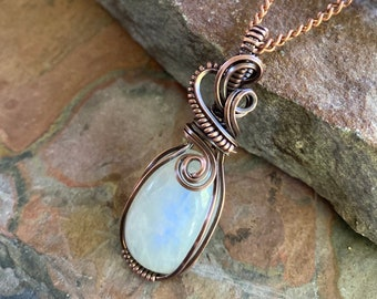 Wired Rainbow Moonstone Necklace,Moonstone Necklace Antiqued Copper,Blue Flashing Moonstone Necklace,Mothers Day Gift,Moonstone Jewelry