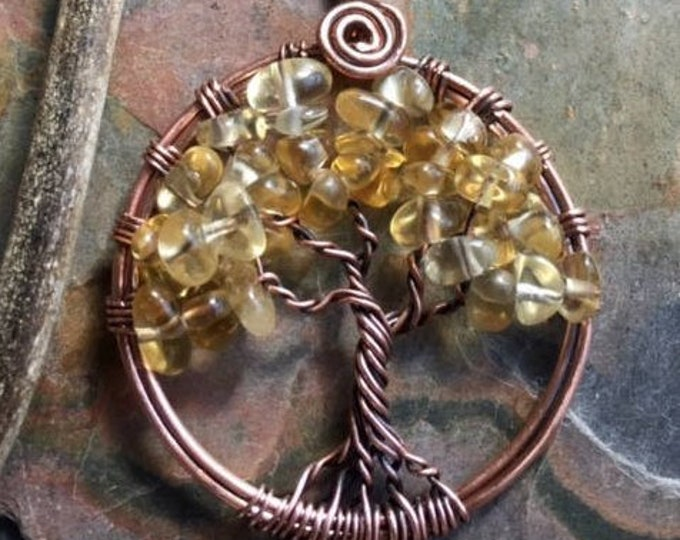 Citrine Necklace, Citrine tree of Life Necklace Copper,Autumn/Fall Tree of Life Necklace, November Birthstone Necklace,Citrine Jewelry