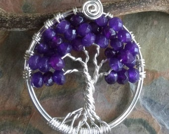 Amethyst Necklace,Amethyst Tree of Life Necklace,February Birthstone Necklace Sterling Silver,Amethyst Earrings,Amethyst Tree Life Earrings