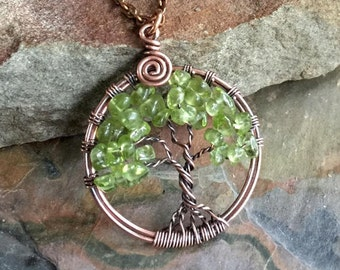 Petite-Mini-Small Peridot Tree of Life Pendant Antiqued Copper,Wire Wrapped Peridot Tree of life Necklace,August Birthstone,Graduation Gift