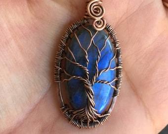 Labradorite Necklace,Blue Labradorite Tree of Life Pendant Necklace,Wire Wrapped Labradorite Tree of Life in Antiqued Copper,#008