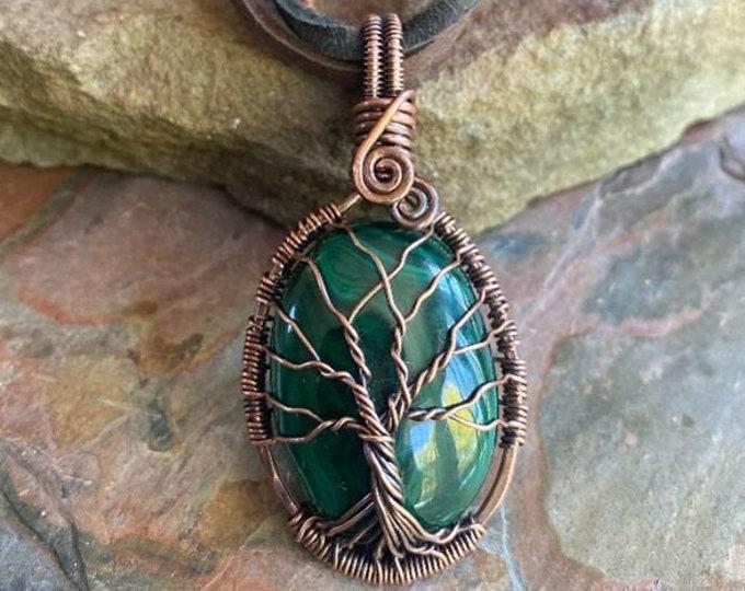 Malachite Tree of Life Copper Necklace, Wire Wrapped Malachite Tree of Life Pendant Antiqued Copper, Malachite Necklace, Green tree of Life