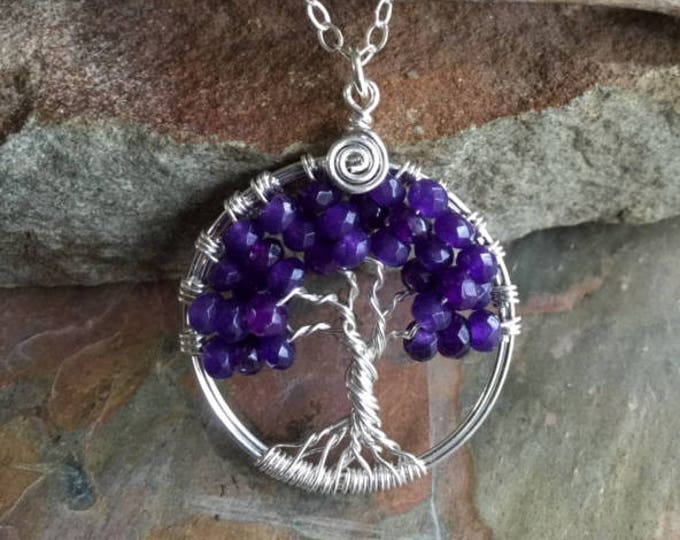 Amethyst Tree of Life Necklace Sterling Silver,Amethyst Necklace,Wired February Birthstone Tree of life Necklace,Amethyst Tree  life Pendant