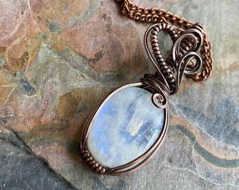 Rainbow Moonstone Necklace,Wired Moonstone Necklace Antiqued Copper,Blue Flashing Moonstone Necklace,Mothers Day Gift,Moonstone Jewelry