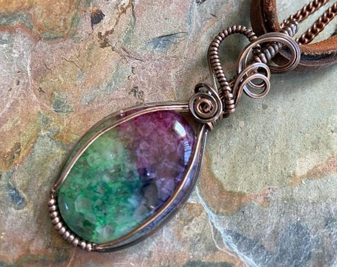 Rainbow Quartz Crystal Necklace,Wire Wrapped Raw Aura Quartz Necklace in Copper,Rainbow Aura Quartz Crystal  Healing Jewelry, Quartz Jewelry