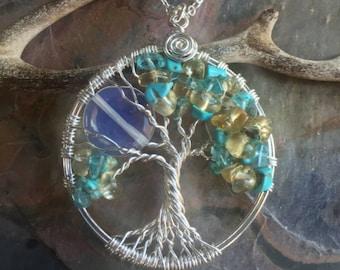 Custom Citrine/Turquoise Moon Tree of Life Necklace,Wire Wrapped Citrine/Turquoise Tree of life Necklace,November/December Birthstone