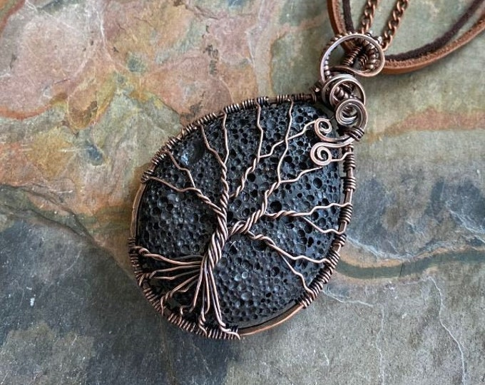 Lava Rock Necklace in Copper Wire,Wire Wrapped Raw Lava rock Necklace,Lava Rock Jewelry, Lava Pendant, Gifts for Her