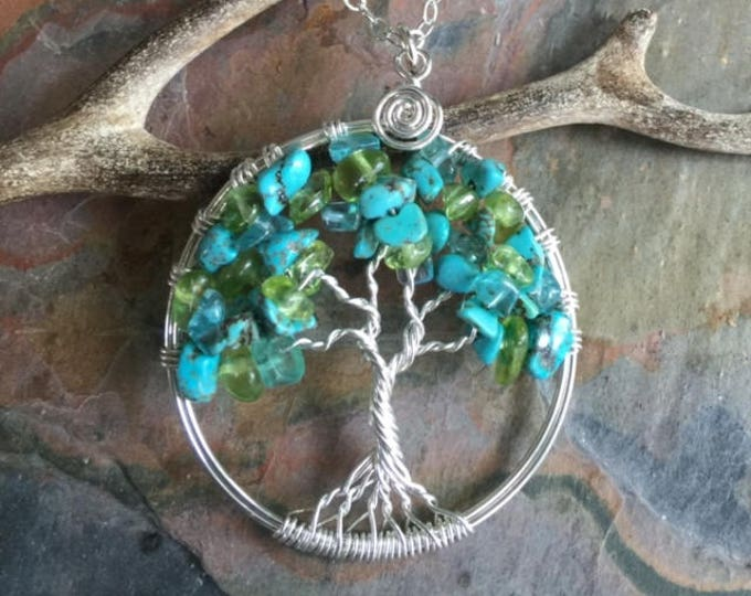 Turquoise,Peridot and Apatite Tree of Life Pendant with a Sterling Silver Chain -Wire wrapped Turquoise/Apatite Gemstone-December Birthstone