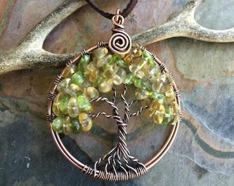Citrine Necklace, November Birthstone Necklace,Citrine Tree of Life Necklace,Peridot Tree Life Necklace Copper,Wire Wrapped Citrine Jewelry