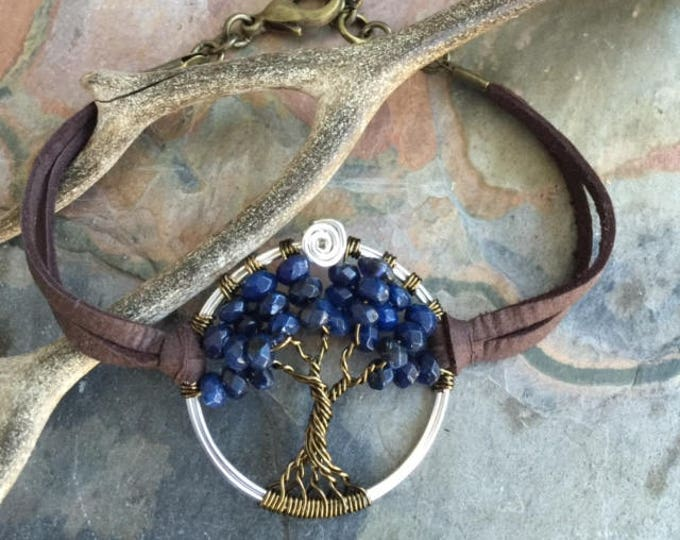 Sapphire Bracelet in Leather,Sapphire Tree of Life Bracelet- Custom Tree of Life Leather Bracelet,September  Birthstone Tree of Life